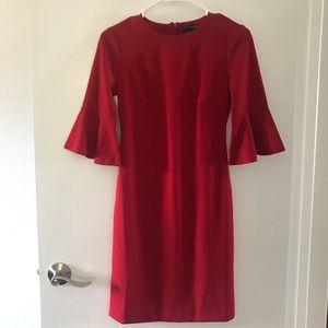 Banana Republic bell sleeve red dress